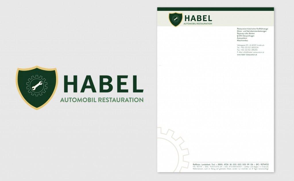 Logo und Briefpapier für Habel Automobil Restauration Innsbruck
