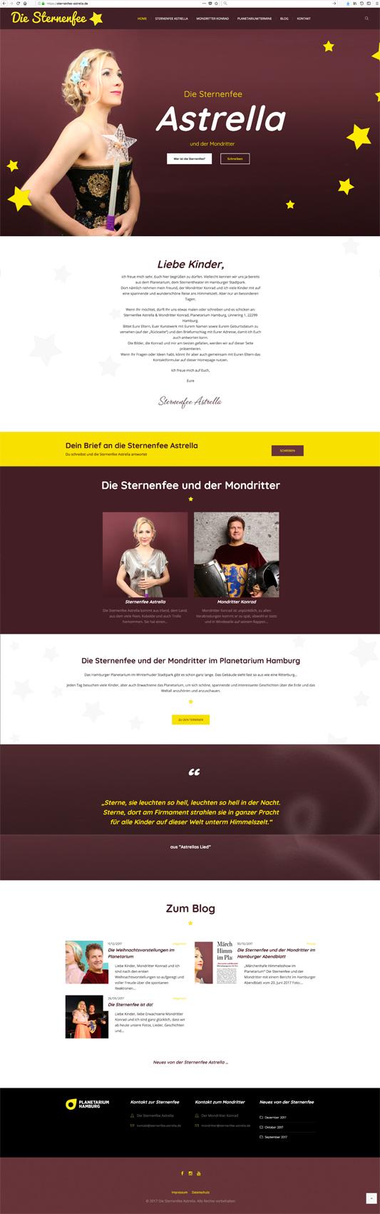 Erstellung der Homepage www.sternenfee-astrella.de durch Kähler & Kähler.