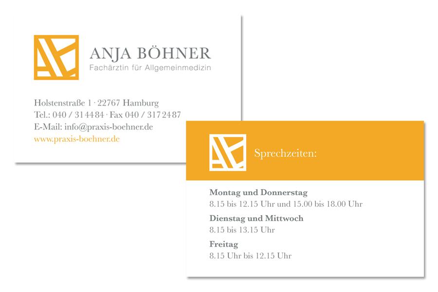 Gestaltung und Produktion, Geschäftsdrucksachen, Praxis Anja Böhner, Kähler & Kähler