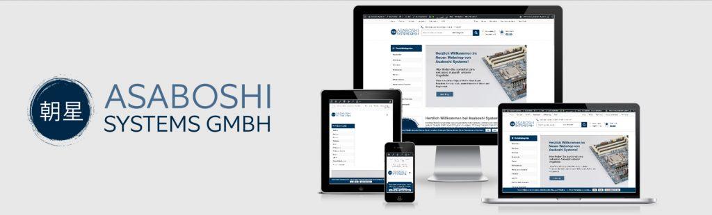 Logo-Entwicklung und Erstellung des Webshops für den Versandhandel Asaboshi Systems durch Kähler & Kähler