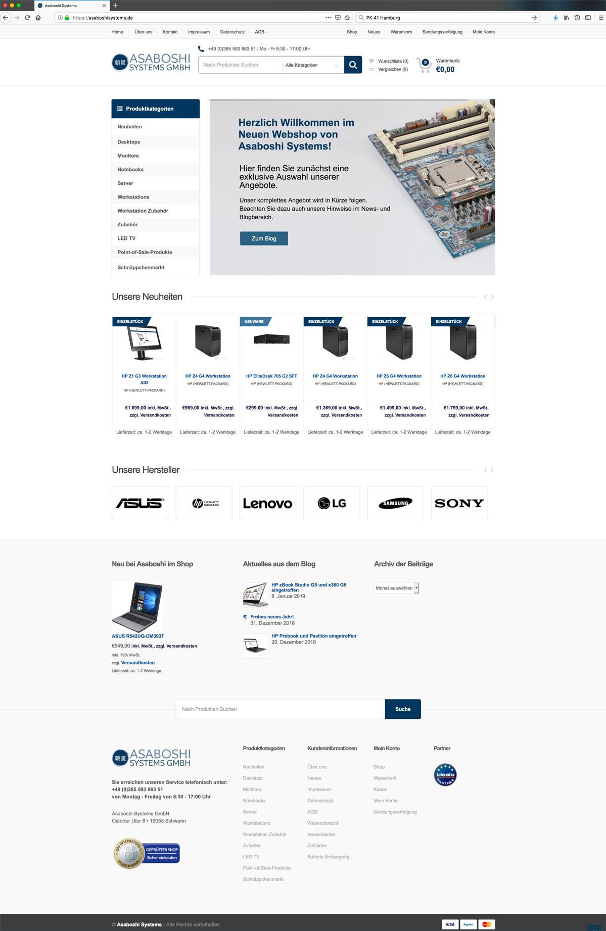 Neu-Erstellung des Webshops für Asaboshisystems durch Kähler & Kähler.