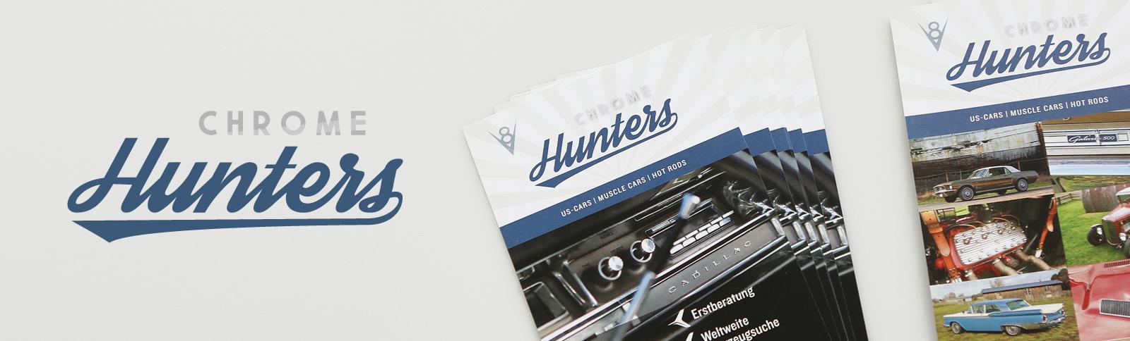 Logo-Entwicklung und Gestaltung und Produktionsabwicklung der Geschäftsausstattung für die Chrome Hunters GmbH i. G. durch Kähler & Kähler