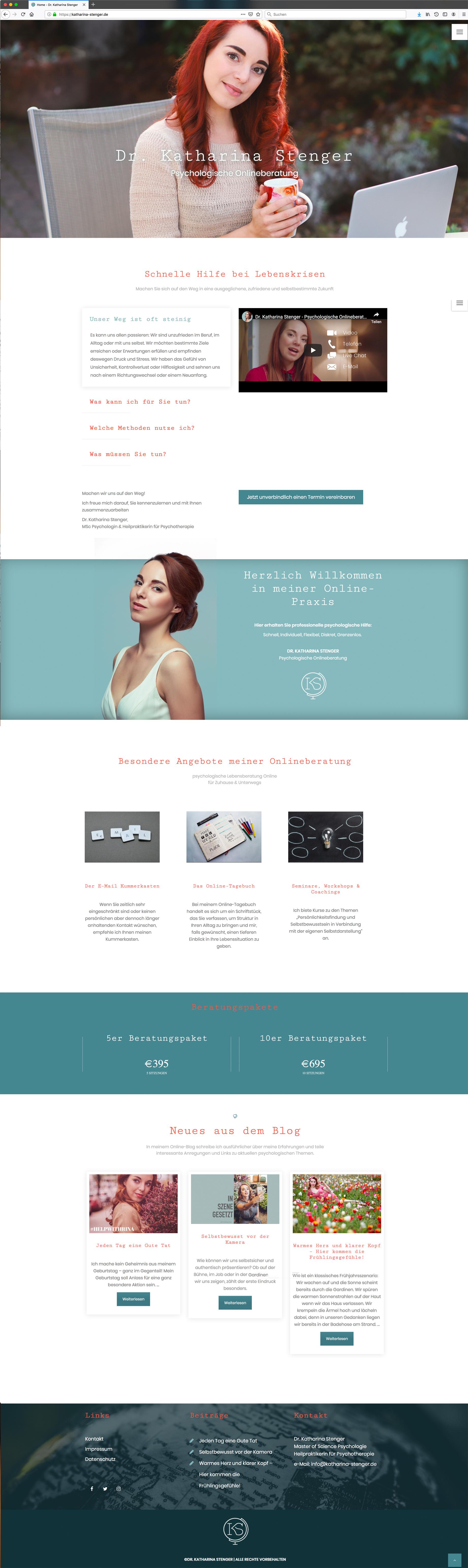 Erstellung der Website www.katharina-stenger.de für Dr. Katharina Stenger, Psychologische Onlineberatung durch Kähler & Kähler