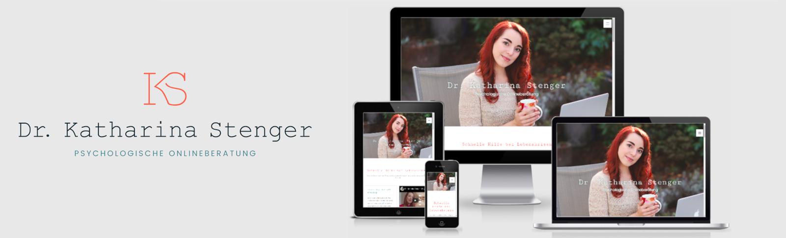 Erstellung der Homepage und der Visitenkarte für Dr. Katharina Stenger, Psychologische Onlineberatung für Zuhause und Unterwegs durch Kähler & Kähler.