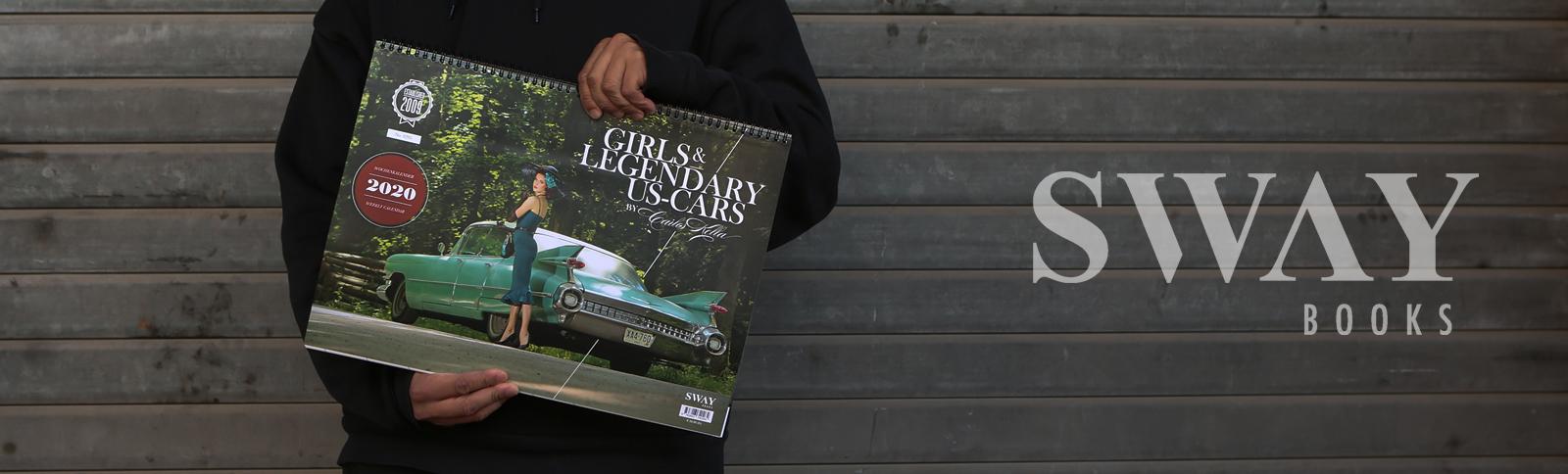 """Design und Produktionsabwicklung für die zwölfte Ausgabe des """"Girls & legendary US-Cars"""" Wochenkalenders für SWAY Books durch Kähler & Kähler."""