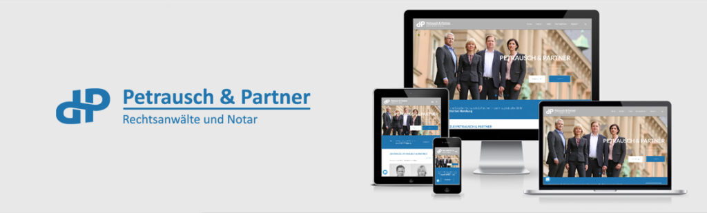 Logo-Neuentwicklung, Überarbeitung des Corporate Designs, Fotoshooting und Relaunch der Homepage für Petrausch & Partner Rechtsanwälte und Notar