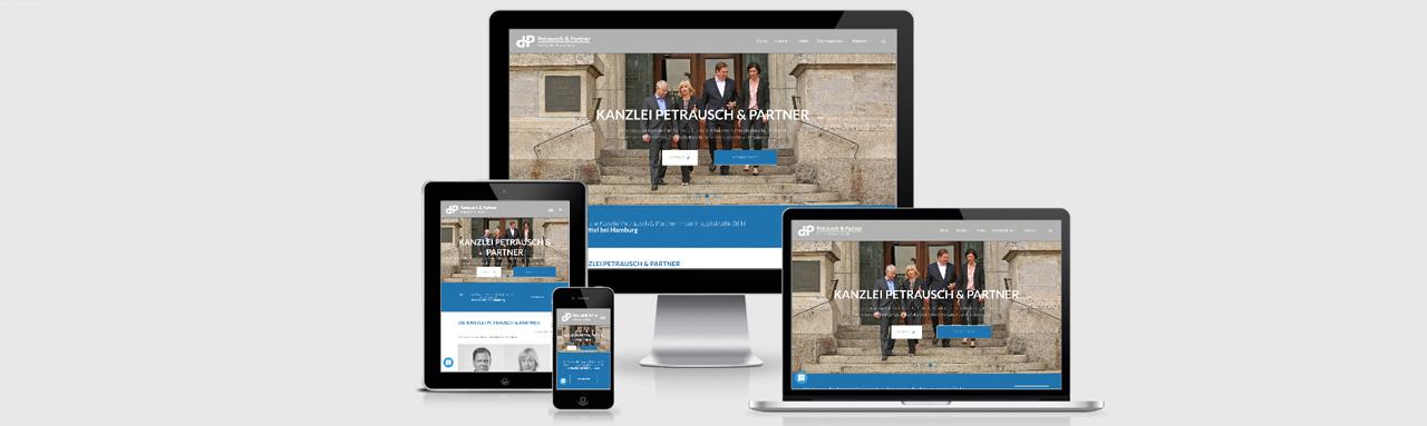 Website für Petrausch & Partner, Rechtsanwälte und Notar.