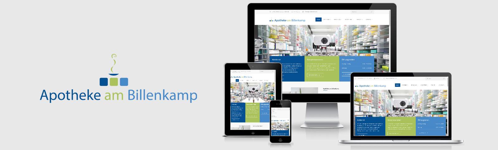 Themen-Logo-Entwicklung, Überarbeitung der Visitenkarte und des Briefpapiers, Fotoshooting und Relaunch der Website für die Apotheke am Billenkamp durch Kähler & Kähler