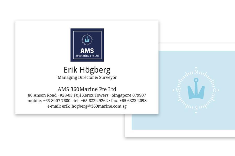 Logo-Adaption und Gestaltung der Business-Cards für AMS 360Marine Pte Ltd durch Kähler & Kähler