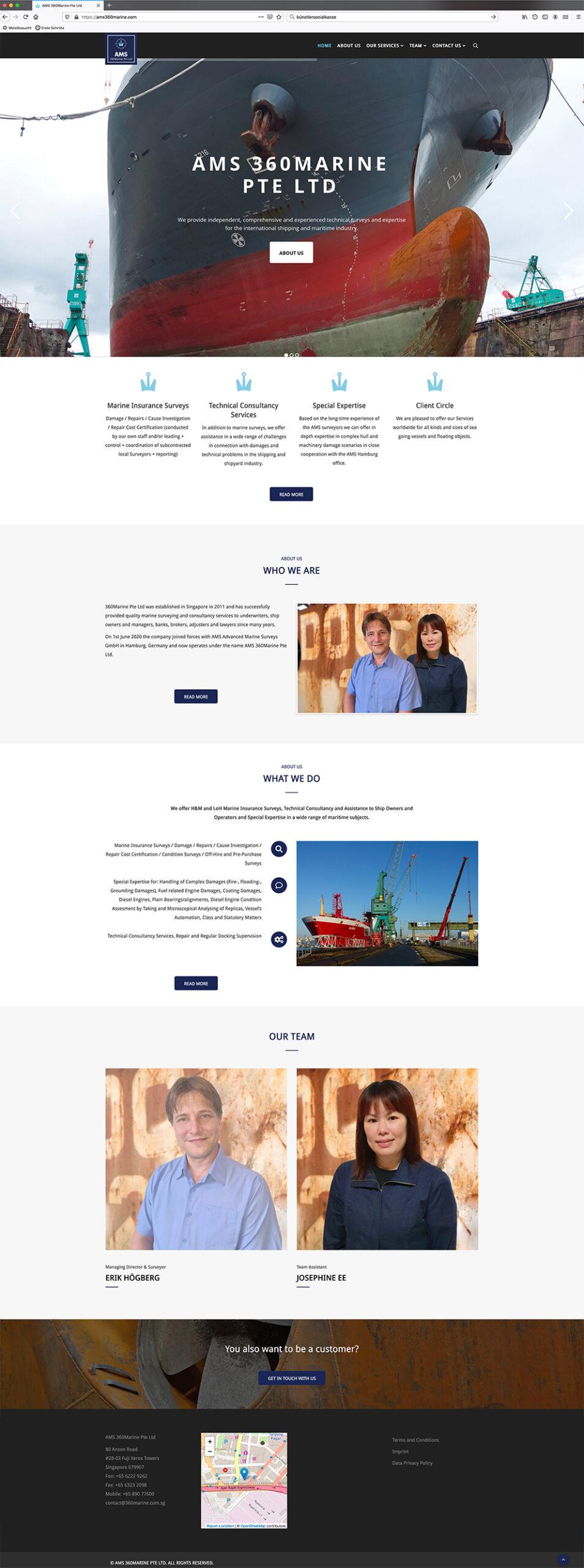 Erstellung der Website für 360Marine Pte Ltd durch Kähler & Kähler