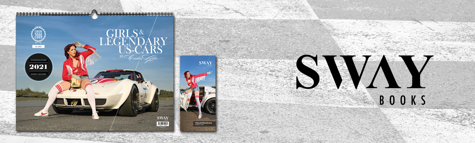 """Design und Produktionsabwicklung für die 13. Ausgabe des """"Girls & legendary US-Cars"""" Wochenkalenders für SWAY Books durch Kähler & Kähler."""