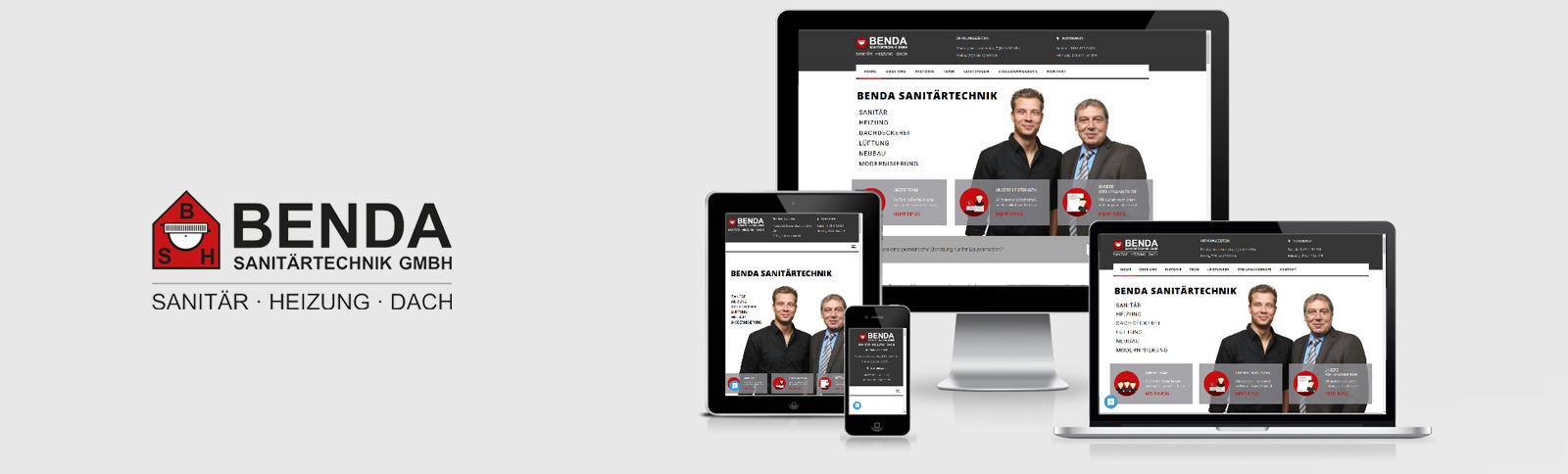 Logo-Überarbeitung, Erstellung von Drucksachen, Fotoshootings und Website-Relaunch und Social Media Betreuung für die Benda Sanitärtechnik GmbH durch Kähler & Kähler.